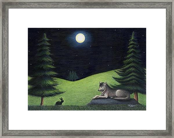 Bunny Visits Wolf Framed Print