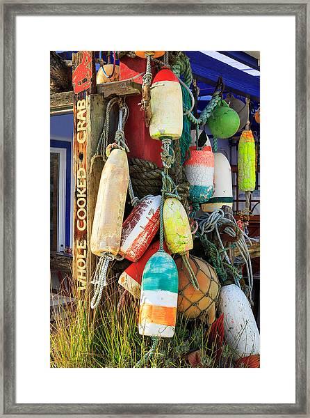 Buoys At The Crab Shack Framed Print