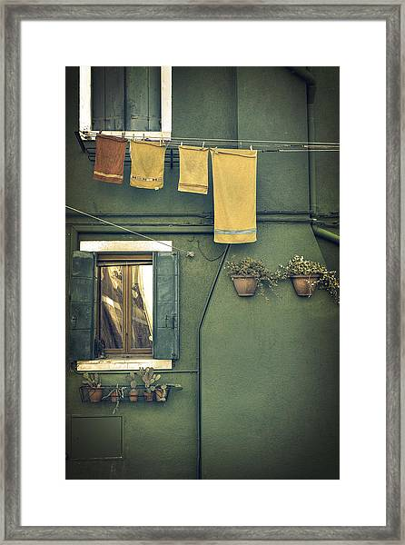 Burano - Green House Framed Print