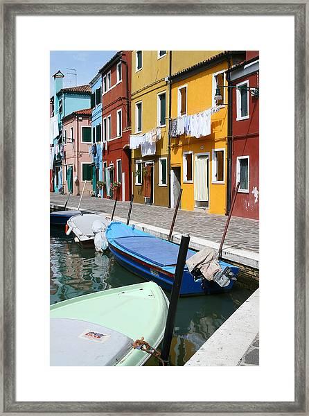 Burano Corner With Laundry Framed Print