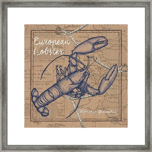 Burlap Lobster Framed Print