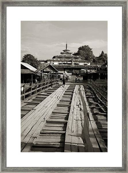 Burmese Wooden Bridge Framed Print by Jessica Rose