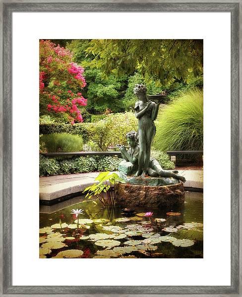 Burnett Fountain Garden Framed Print