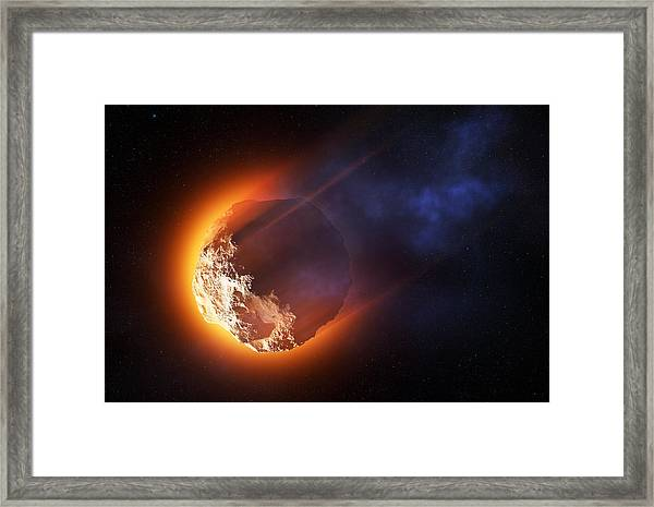 Burning Asteroid Entering The Atmoshere Framed Print