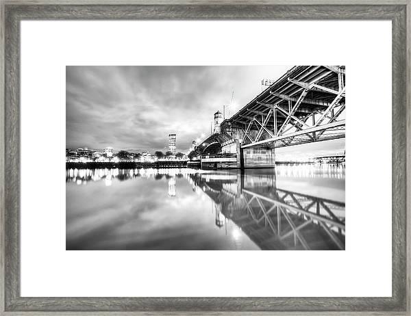 Burnside Bridge Willamette River Portland Oregon Framed Print