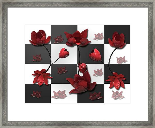 Burnt Crimson Flora Framed Print