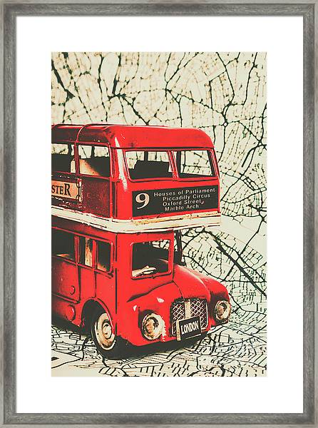 Bus Line Art Framed Print