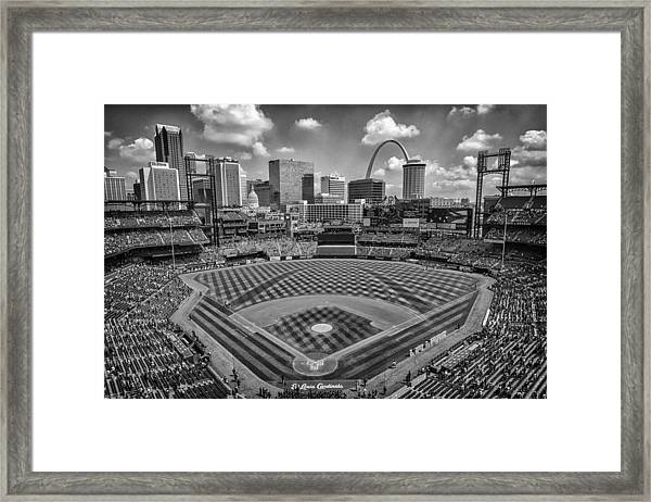 Busch Stadium St. Louis Cardinals Black White Ballpark Village Framed Print