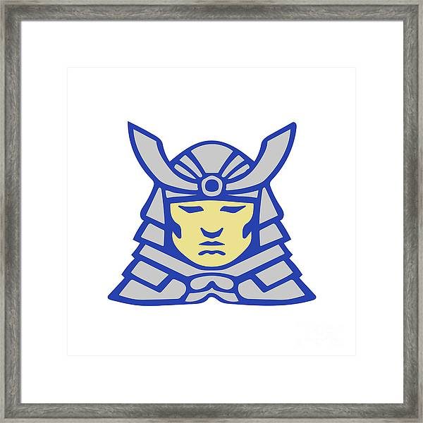 Bushido Samurai Head Armor Helmet Retro Framed Print