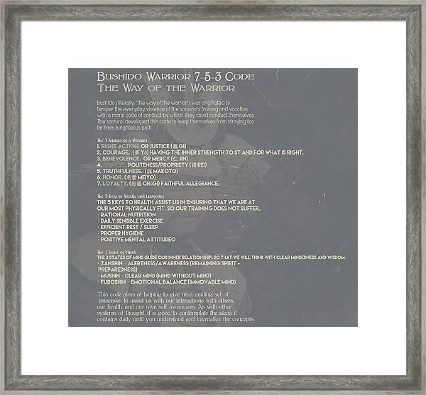 Bushido Warrior 7-5-3 Code 10d Framed Print