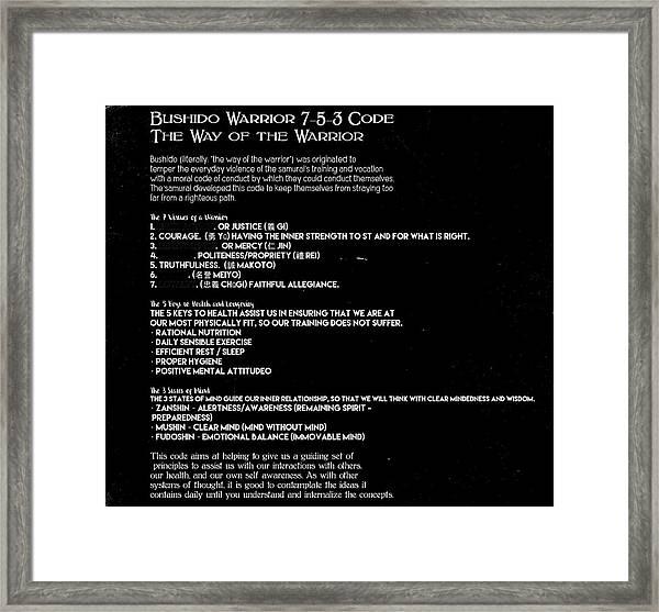 Bushido Warrior 7-5-3 Code 10f Framed Print