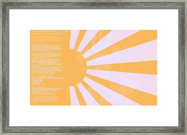 Bushido Warrior 7-5-3 Code The Way Of The Warrior 9g Framed Print