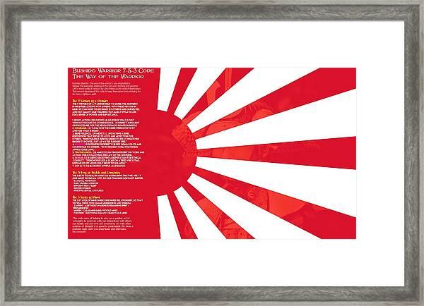 Bushido Warrior 7-5-3 Code The Way Of The Warrior 9h Framed Print