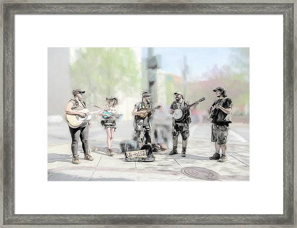 Busker Quintet Framed Print by John Haldane