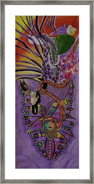 Butterfly And The Peacock Framed Print