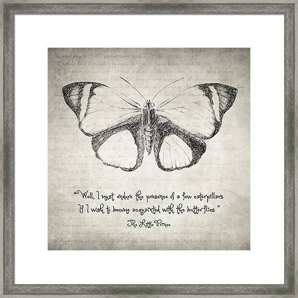 Butterfly Quote - The Little Prince Framed Print