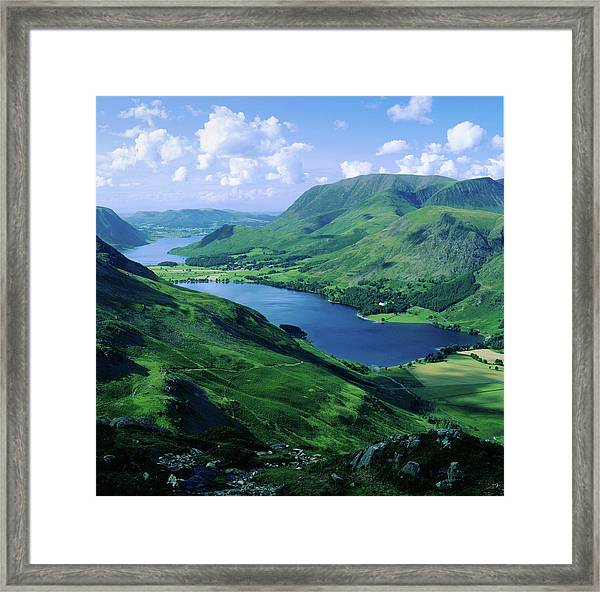 Buttermere And Crummock Water From Haystacks, Cumbria. Uk Framed Print