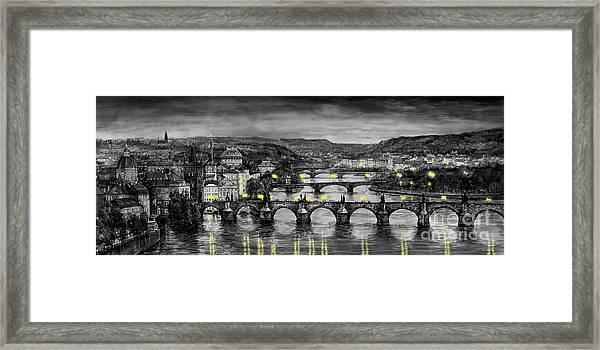 Bw Prague Bridges Framed Print