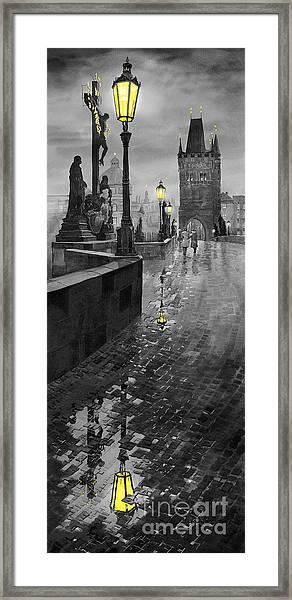 Bw Prague Charles Bridge 01 Framed Print