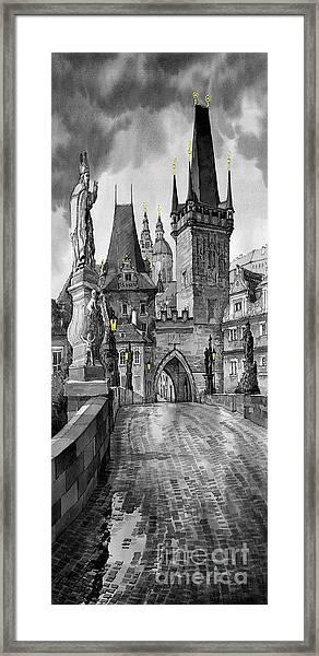 Bw Prague Charles Bridge 02 Framed Print