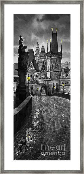 Bw Prague Charles Bridge 03 Framed Print