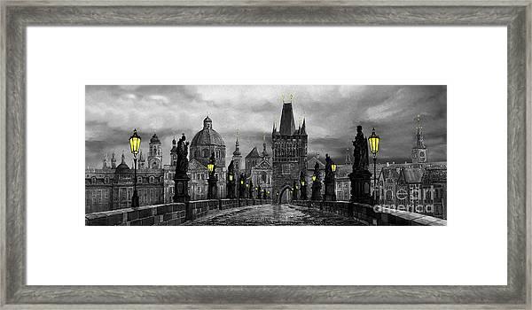 Bw Prague Charles Bridge 04 Framed Print