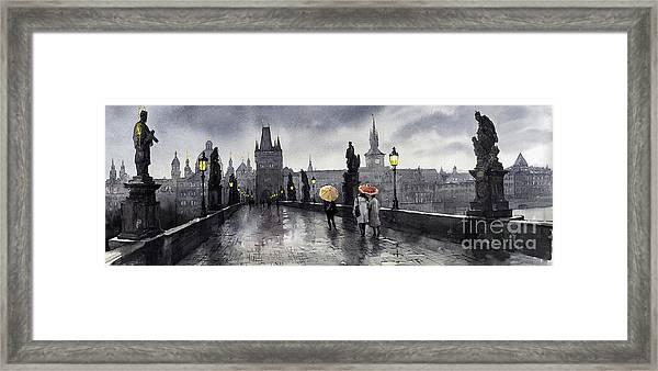Bw Prague Charles Bridge 05 Framed Print