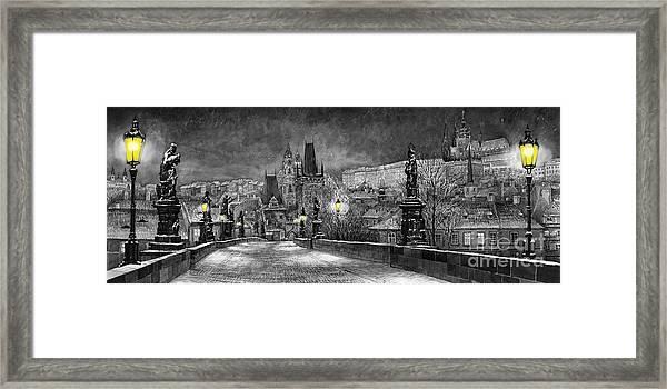 Bw Prague Charles Bridge 06 Framed Print