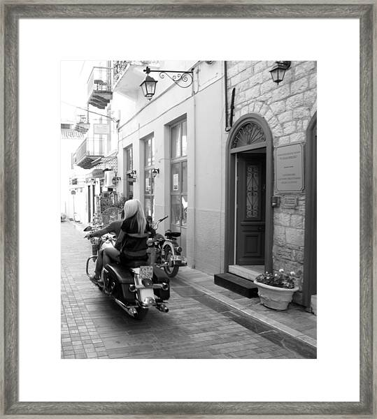 Bw Girl Riding On Motorcycle With Handsome Bike Rider Speed Stone Paved Street Nafplion Greece Framed Print