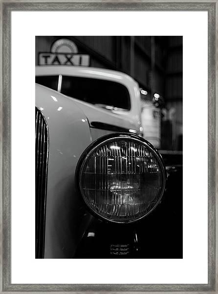 Bw Taxi Framed Print