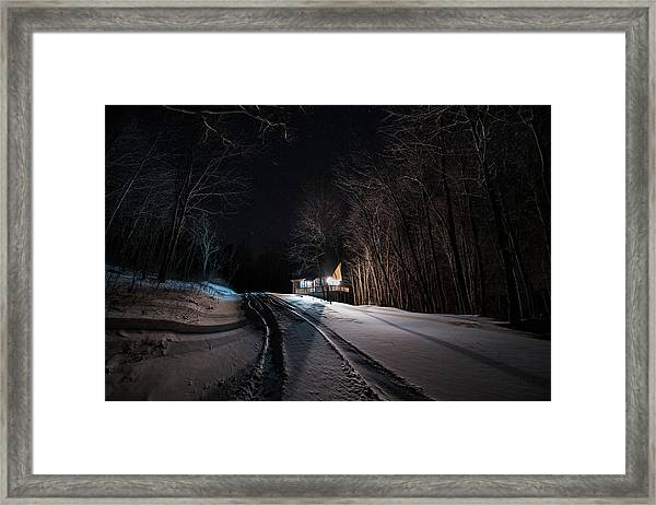 Framed Print featuring the photograph Cabin In The Winter by William Dickman