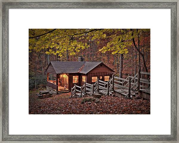 Framed Print featuring the photograph Cabin In The Woods by Williams-Cairns Photography LLC