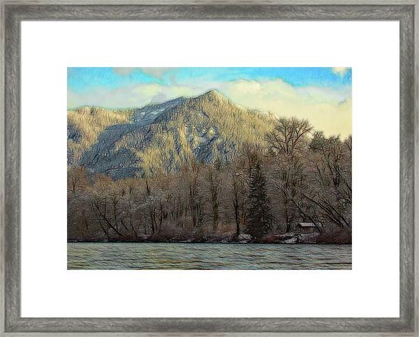 Cabin On The Skagit River Framed Print
