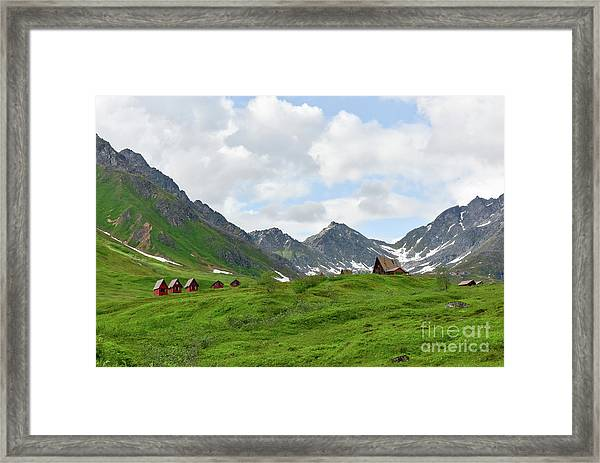 Cabins In The Alaskan Mountains Framed Print