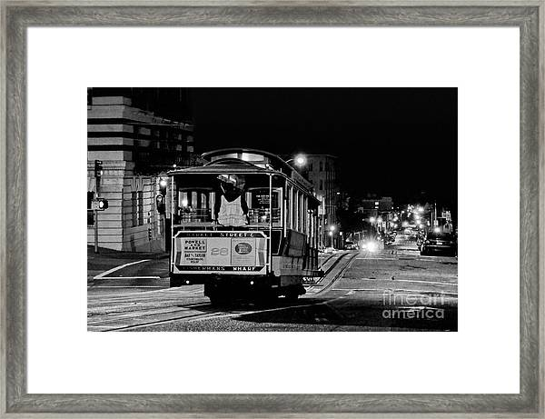 Cable Car At Night - San Francisco Framed Print