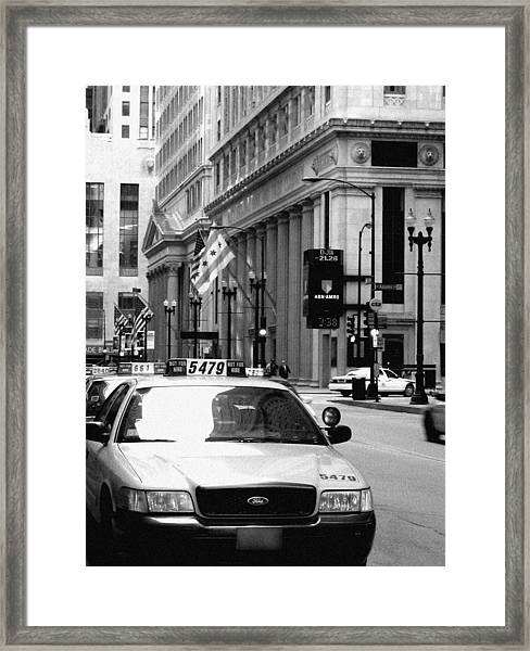 Cabs In The City Framed Print