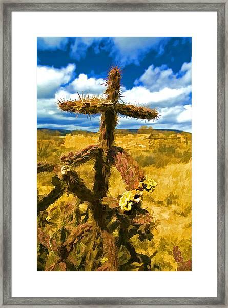 Cactus Cross Framed Print