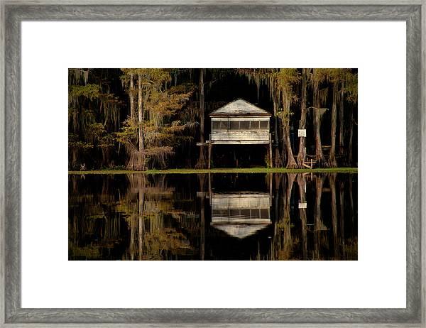 Caddo Lake Boathouse Framed Print