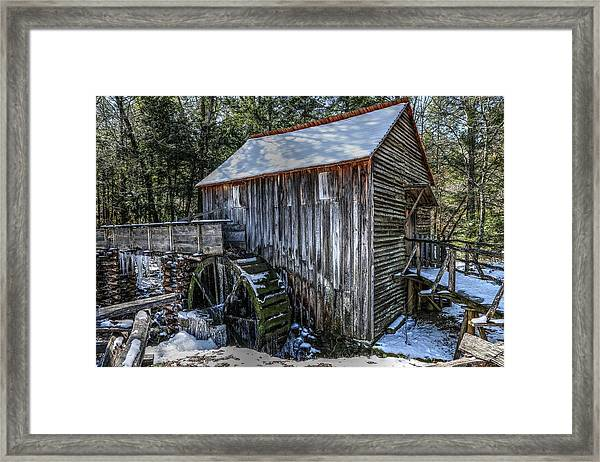 Cades Cove Grist Mill In Winter Framed Print