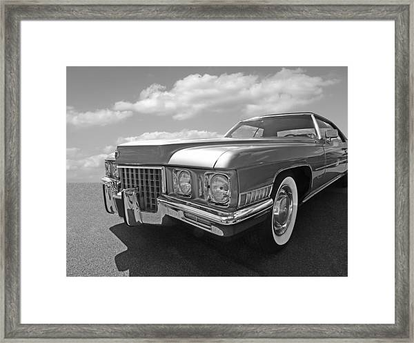 Cadillac Coupe De Ville 1971 In Black And White Framed Print