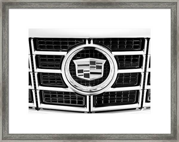 Cadillac Emblem Front Bw Framed Print