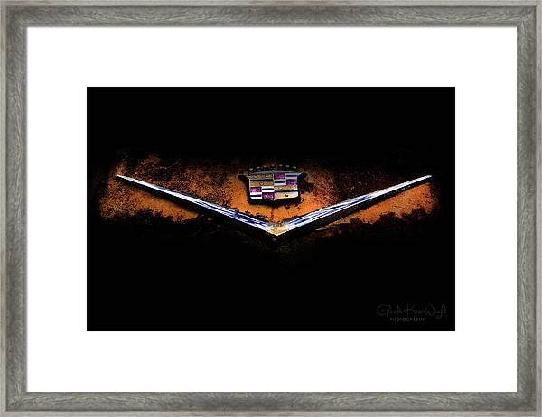 Framed Print featuring the photograph Cadillac Emblem by Glenda Wright