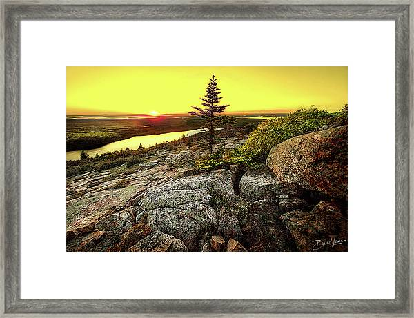 Framed Print featuring the photograph Cadillac Mountain Sunset by David A Lane