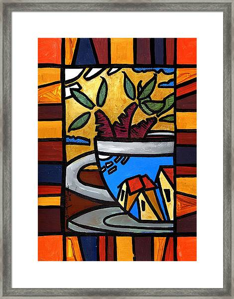 Framed Print featuring the painting Cafe Caribe  by Oscar Ortiz