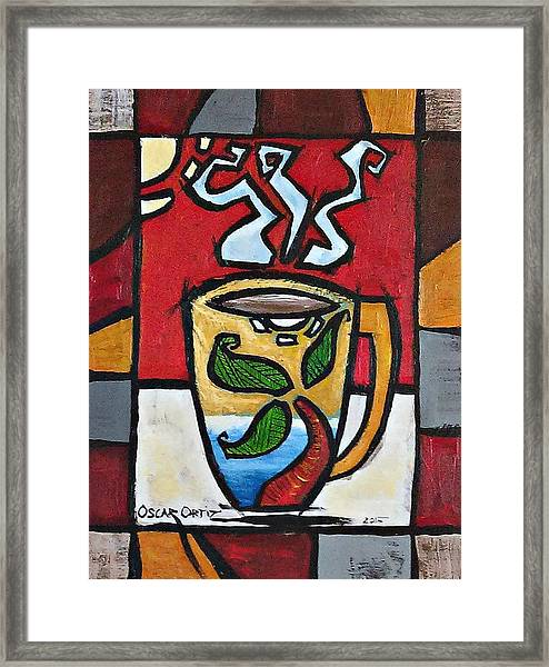 Framed Print featuring the painting Cafe Palmera by Oscar Ortiz