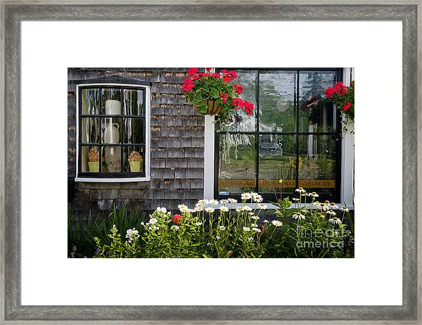 Framed Print featuring the photograph Cafe Windows by Susan Cole Kelly