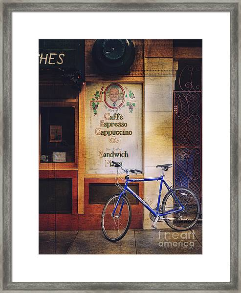 Caffe Expresso Bicycle Framed Print