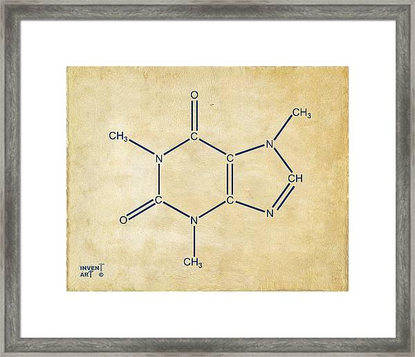 Caffeine Molecular Structure Vintage Framed Print