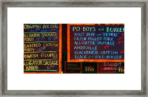 Cajun Menu Alligator Sausage Poboy - 20130119 Framed Print