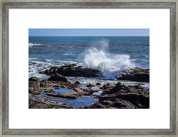 Wave Crashing On California Coast Framed Print